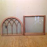 Custom wood arch top gothic mullion sashes.