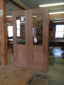 Wood custom double entryway door unit