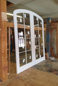 Custom wood ellipical arched top interior double french doors