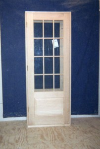 Custom wood exterior door unit.