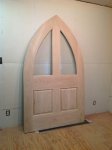 Custom wood gothic arch top door