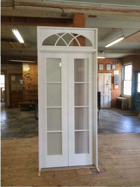 Captivating Custom Wood Interior Double French Door Unit With Transom Window