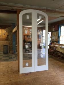 Arched top cutom wood french doors