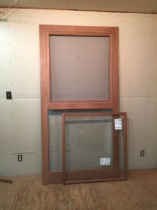 Mahogany wood custom storm screen door