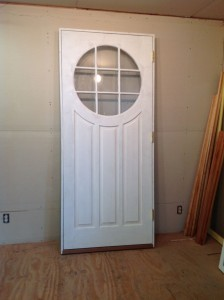 Wood custom entryway door unit