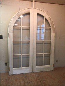 Custom wood arched top double french door unit