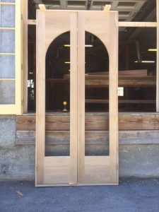 Custom wood arched top door unit