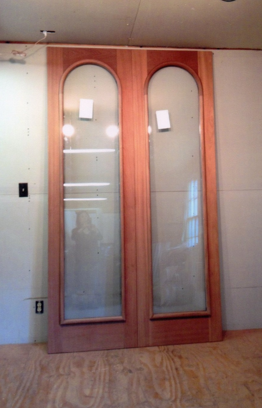 custom wood inner arched top double storm doors