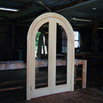 Custom Wood Interior Arch Top Double French Door