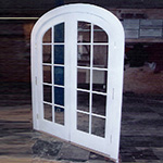 Exterior arched top custom wood double french door unit