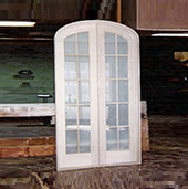 Arched top custom wood french door unit