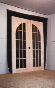 Wood custom interior inner arched top french doors