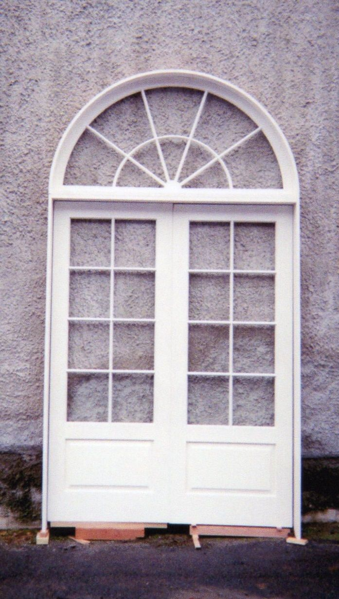 double solid wood custom french door unit arch top sun burst design
