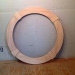 Wood custom round window casing trim with key stone