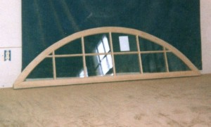 Custom wood arched top fixed transom sash