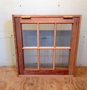 Custom mahogany wood awning window unit