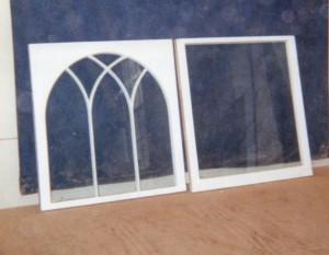 Historical gothic arch mullion custom built wood window sash