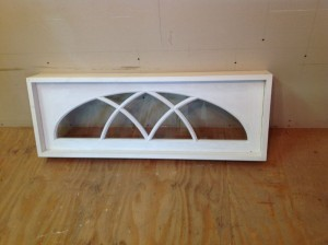 Gothic arch interior transom window unit