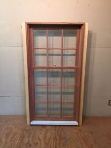 Custom wood double hung window unit.