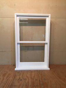 Custom wood double hung window unit
