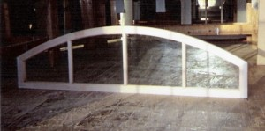 Arched top custom wood transom window