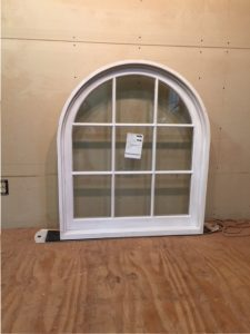 Custom wood arched top window unit