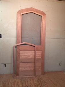 Custom wood gothic arched top storm screen door set